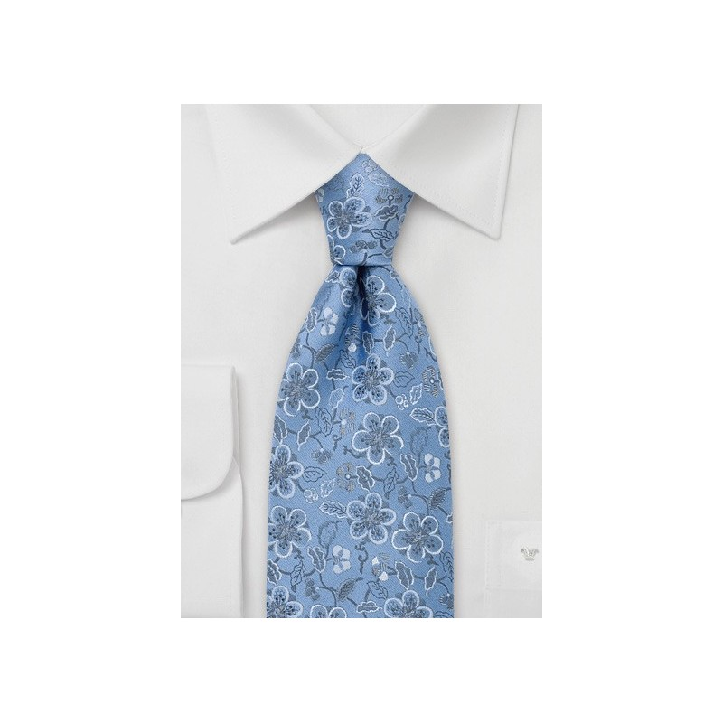 Blue Silk Tie by Chevalier With Floral Pattern