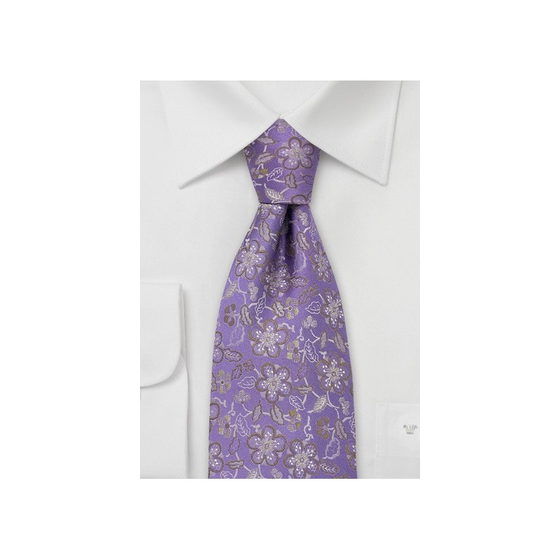 Lavender Silk Tie by Chevalier With Golden Flowers
