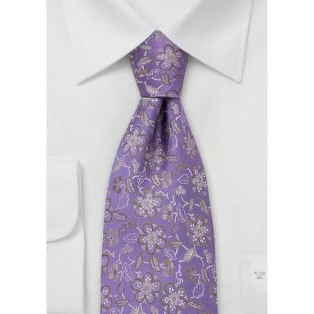 Lavender Silk Tie by Chevalier With Golden Flowers