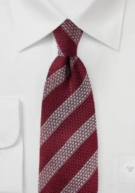 Vintage Stripe Silk Tie in Burgundy