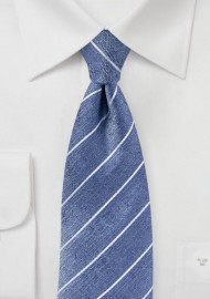 Raw Silk Tie in Denim Blue