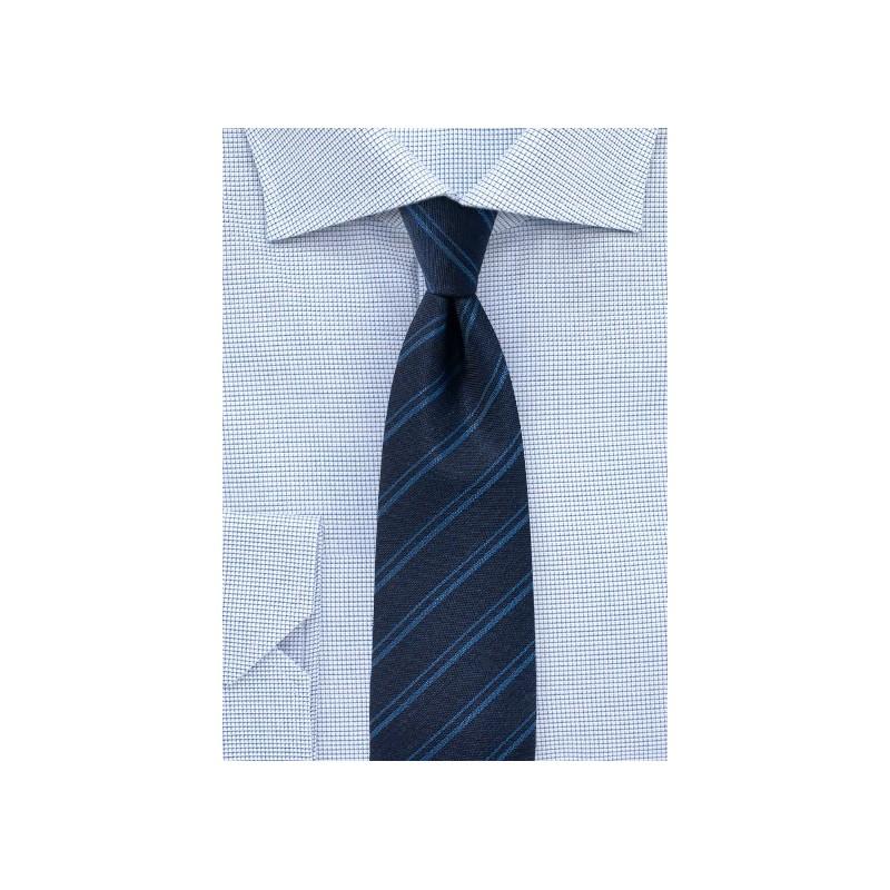Dark Navy Stripe Tie in Wool Fabric