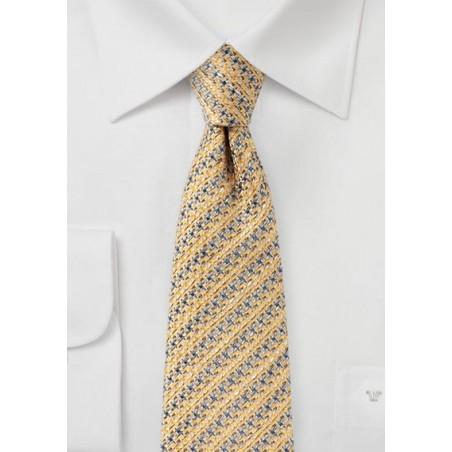 Golden Cream Designer Houndstooth Check Tie