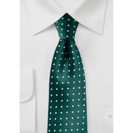 Dark Green and Silver Woven Polka Dot Tie