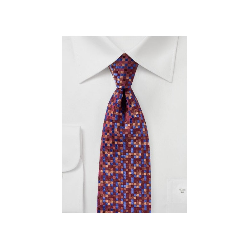Patchwork Check Tie in Wine Red