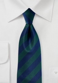 Navy and Hunter Green Repp Tie