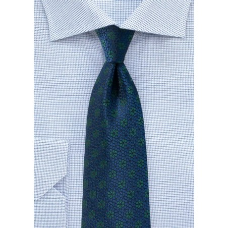 Floral Tie in Navy and Hunter Green
