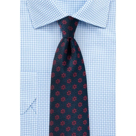 Woven Floral Tie in Midnight Blue and Merlot Red