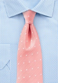 Matte Polka Dot Tie in Peach Pink