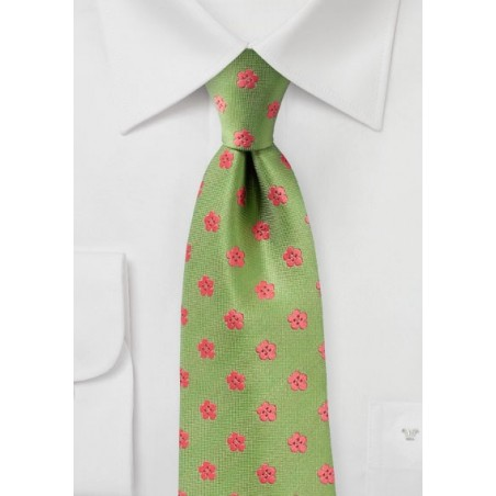 Peridot Green Tie with Coral Flowers