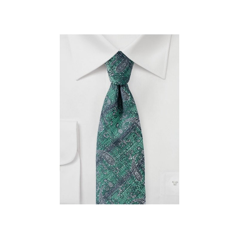 Faded Paisley Tie in Green and Gray