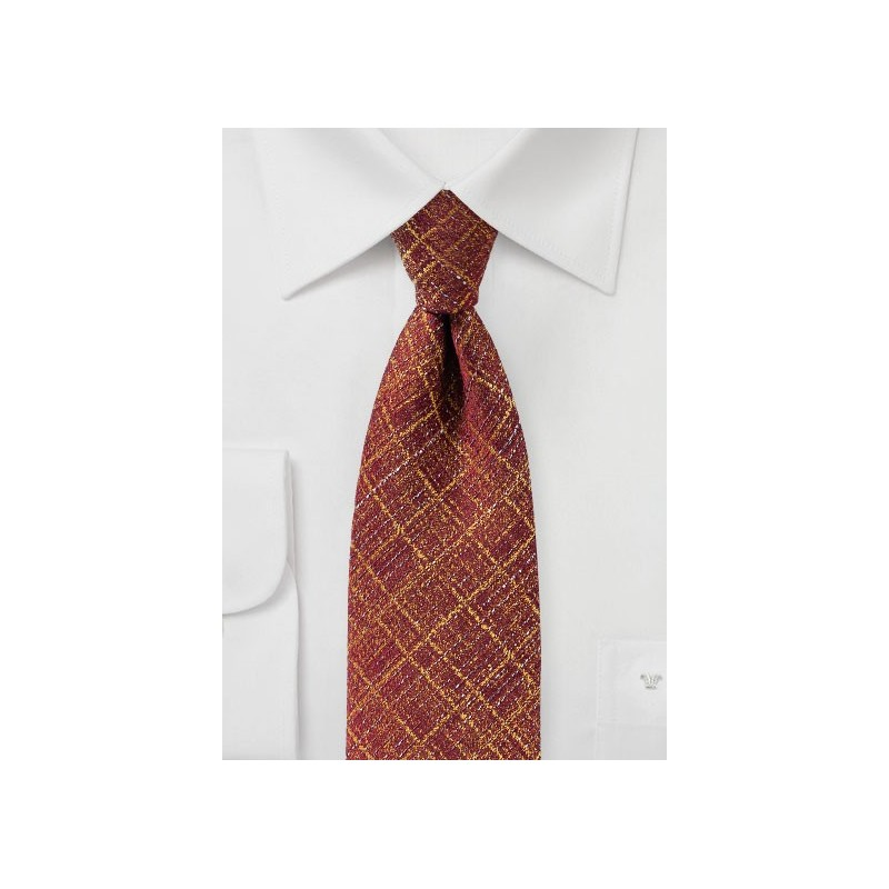 Festive Burgundy and Gold Checkered Tie