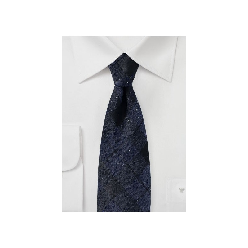 Dark Navy Tartan Plaid Tie in Cotton