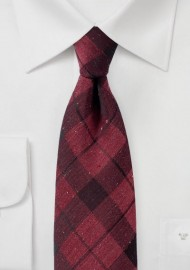Wine Red Tartan Plaid Tie in Cotton