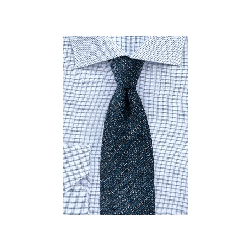 Dark Blue Textured Tie Made from Recycled Yarns