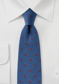 Indigo and Cherry Wool Tie