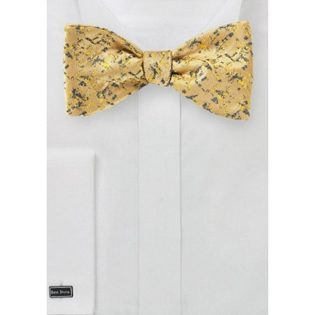 Bright Gold Bow Tie with Abstract Design