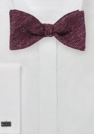 Textured Seld-Tie Bow Tie in Burgundy