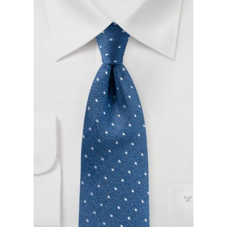 Matte Woven Silk Polka Dot Tie in Blue