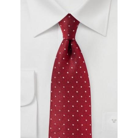 Cherry Red Polka Dot Tie in Matte Silk Finish
