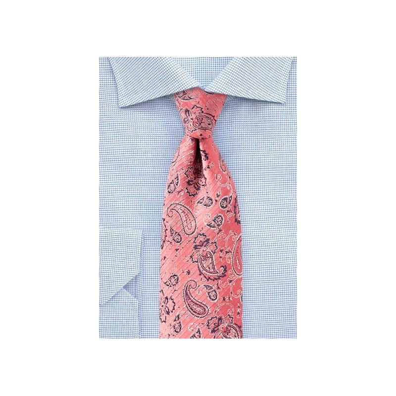 Lobster Pink Paisley Designer Tie