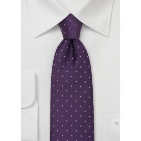 Kids Silk Tie in Purple with Polka Dots