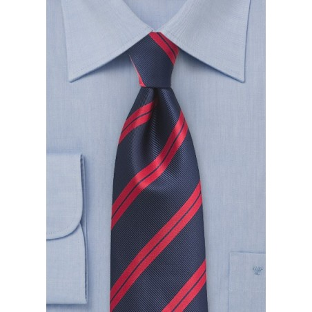 Repp Striped XL Tie in Navy and Red