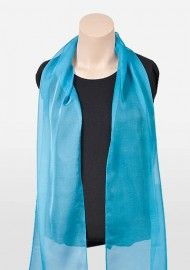 Womens Chiffon Scarf in Bright Aqua