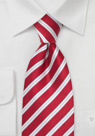 Handmade Striped Silk Tie in Bright Red in XL Length