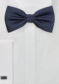 Sapphire Blue Bow Tie with Tony White Dots