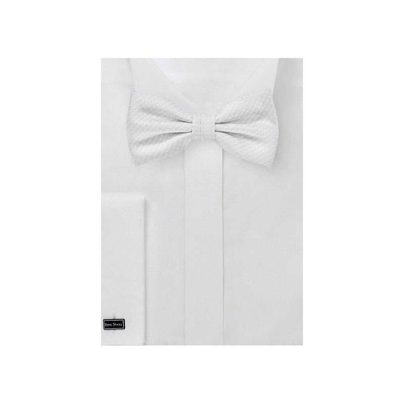 Ivory Pin Dot Bow Tie