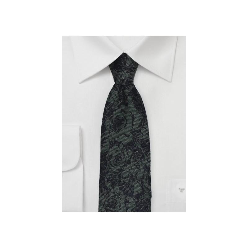 Skinny Winter Wool Tie in Forest Green