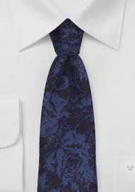 Floral Skinny Wool Tie in Navy