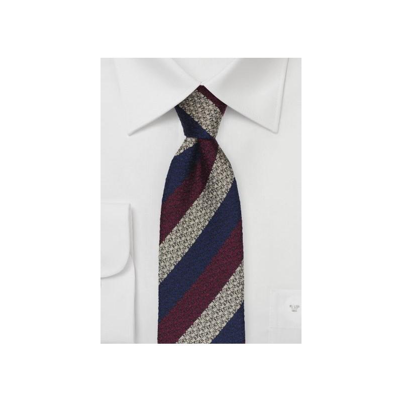 Textured Skinny Tie in Navy, Wine, Gray