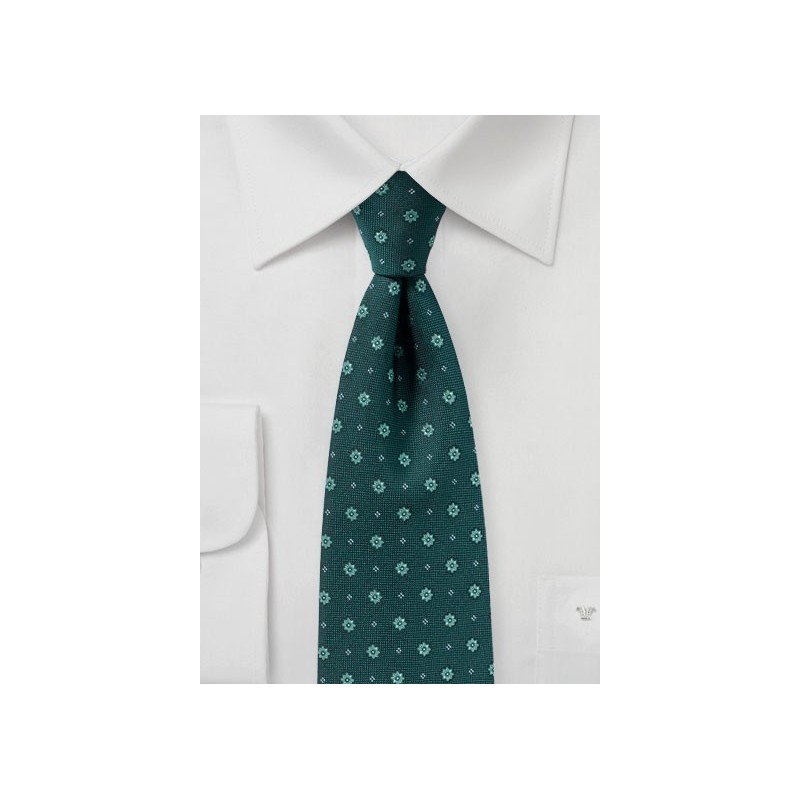 Woven Floral Tie in Hunter Green