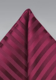 Burgundy Striped Pocket Square
