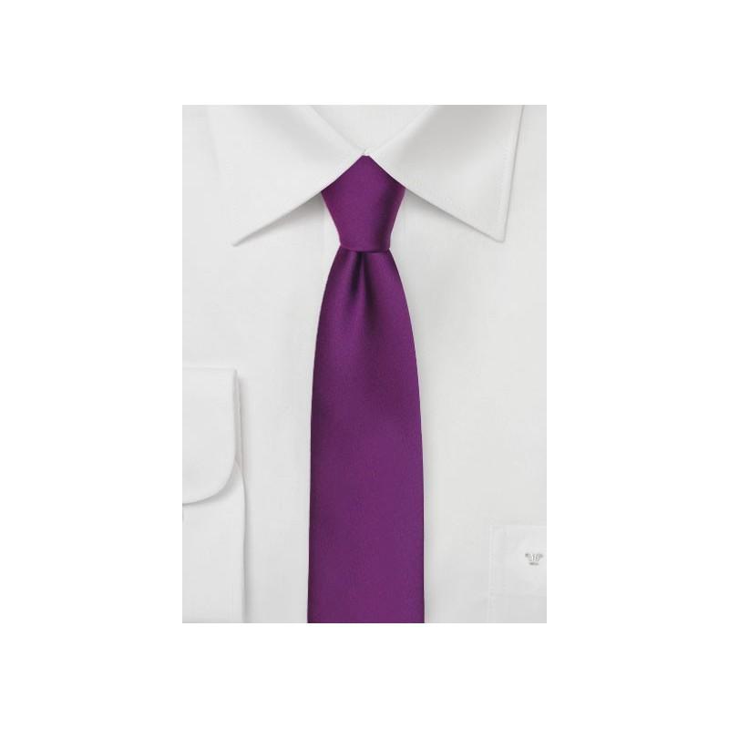 Solid Skinny Tie in Bright Purple