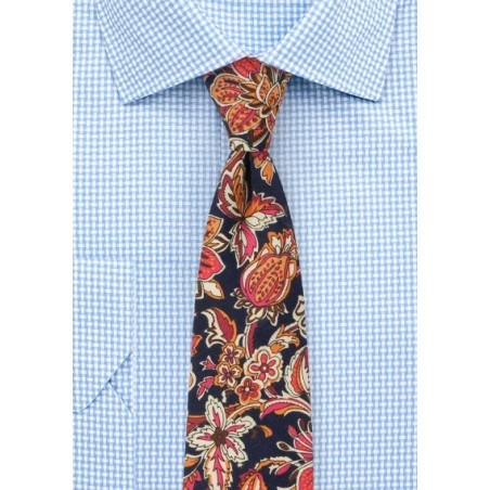 Colorful Vintage Floral Print Tie