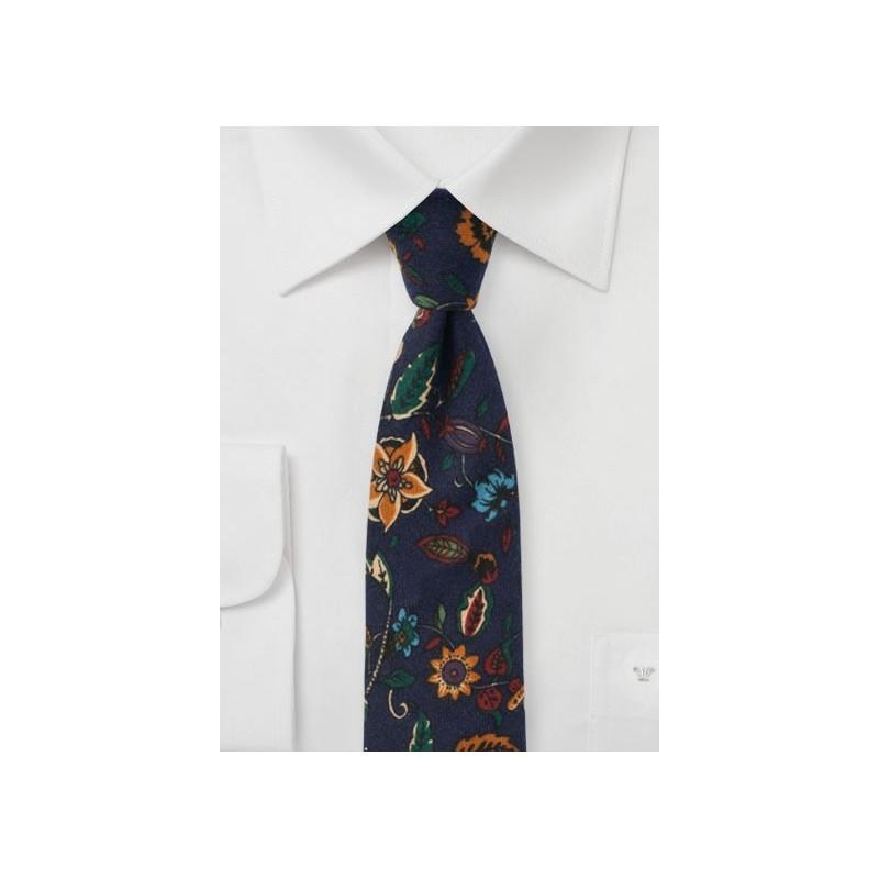 Dark Navy Flannel Print Floral Tie