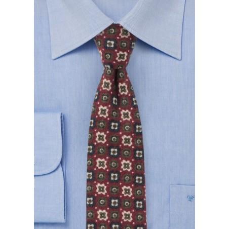 Burgundy Flannel Tie with Retro Print