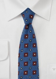 Flannel Medallion Print Tie in Indigo