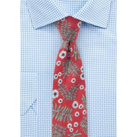 Vintage Red Flannel Mens Tie