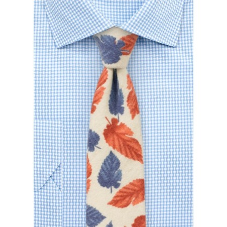 Cream, Red, and Blue Leaf Print Tie