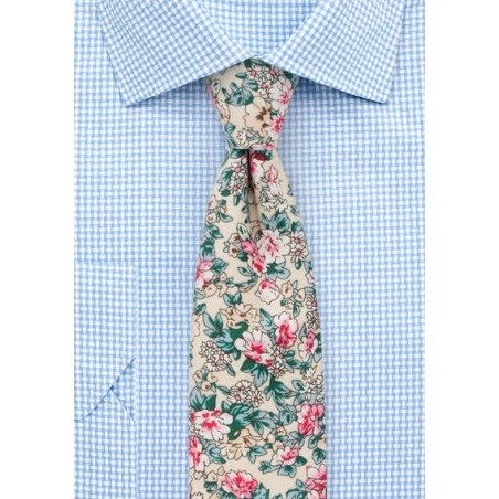Summer Floral Cotton Print Tie