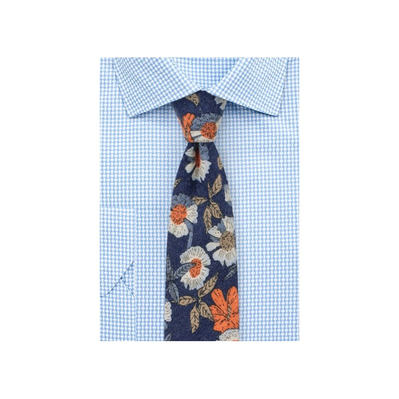 Flannel Cotton Print Tie with Floral Desgin