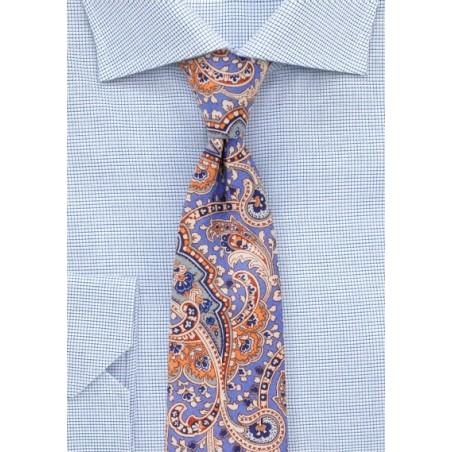 Cotton Paisley Tie in Pastel Blue and Orange