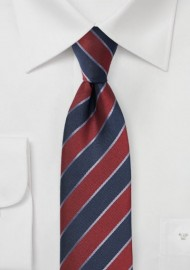 Striped Skinny Tie in Wine Red and Navy