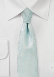 Light Beach Blue Skinny Tie with Tropical Leaf Design