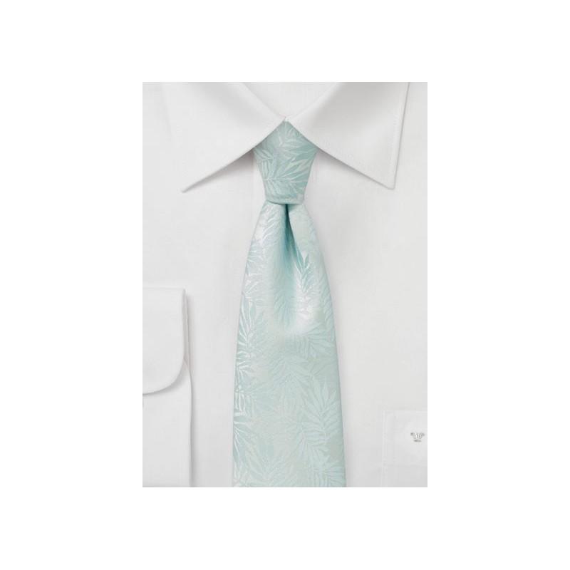 Light Beach Blue Skinny Tie with Tropical Leaf Design
