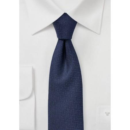 Navy Herringbone Texture Tie in Skinny Cut